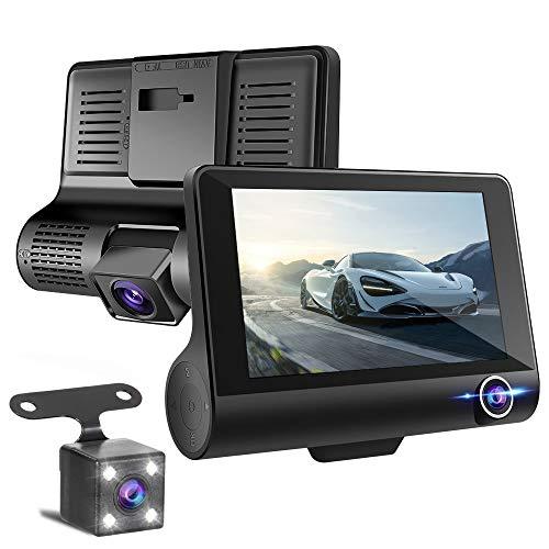 ドライブレコーダー 前後カメラ 【2019最新版 3カメラ搭載】 車載カメラ 車内外同時録画 リアカメラ付き 4.0インチ画面 1080PフルHD 170°広視野角 G-sensor WDR搭載 駐車監視 常時録画 (32GB SDカード付き)