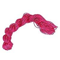 SODIAL(R) 1ロール 25メートル ナイロンひもスレッド 中国のノットマクラメ ブレスレット 三つ編みひも ローズレッド