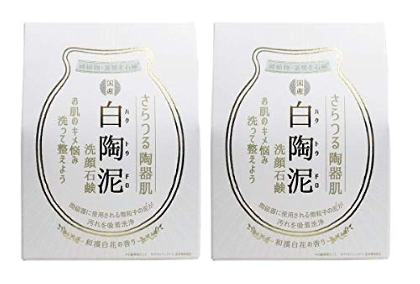 建設パフ退化するペリカン石鹸 白陶泥洗顔石鹸 100g×2個セット