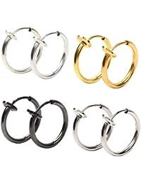 GOKEI_CO フェイクピアス 4色 セット フープ イヤリング イヤーカフ メンズ 収納 ポーチ 付 ユニセックス【4色セット】