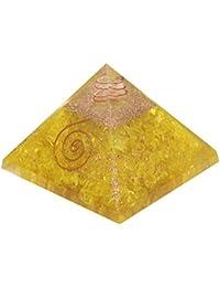 Aatm Reiki Energized chakra healing Yellow Orgone Pyramid With Clear Crystal Gemstone/EMF Protection Meditation Yoga Energy Generator