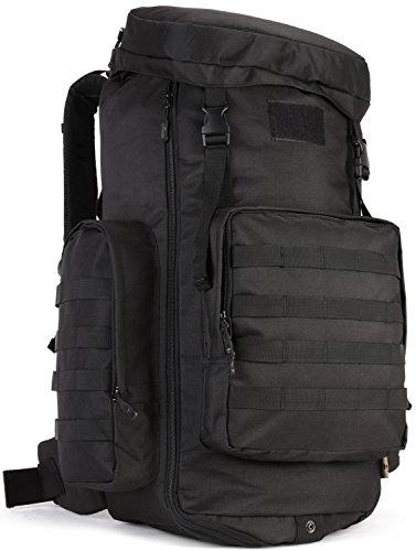 ArcEnCiel 大容量タクティカルバックパック モール対応 ショルダー バッグ 防水カバー付属 ブラック