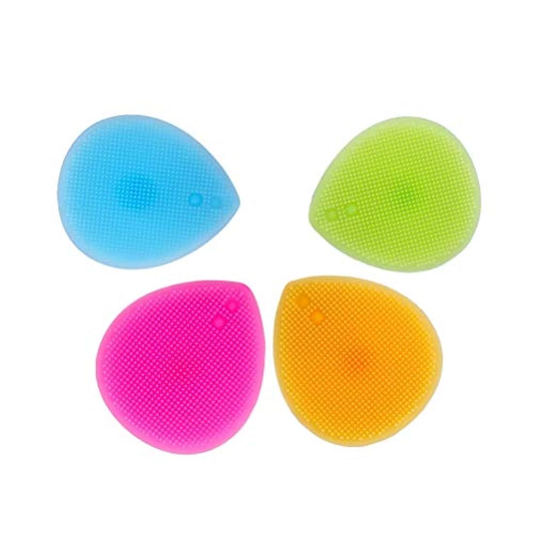 ささいな人事頬骨HEALIFTY シリコーンブラシクリーナー4PCSメイクアップブラシクリーニングパッドリトルラバーマット(オレンジ+ローズ+ブルー+グリーン)