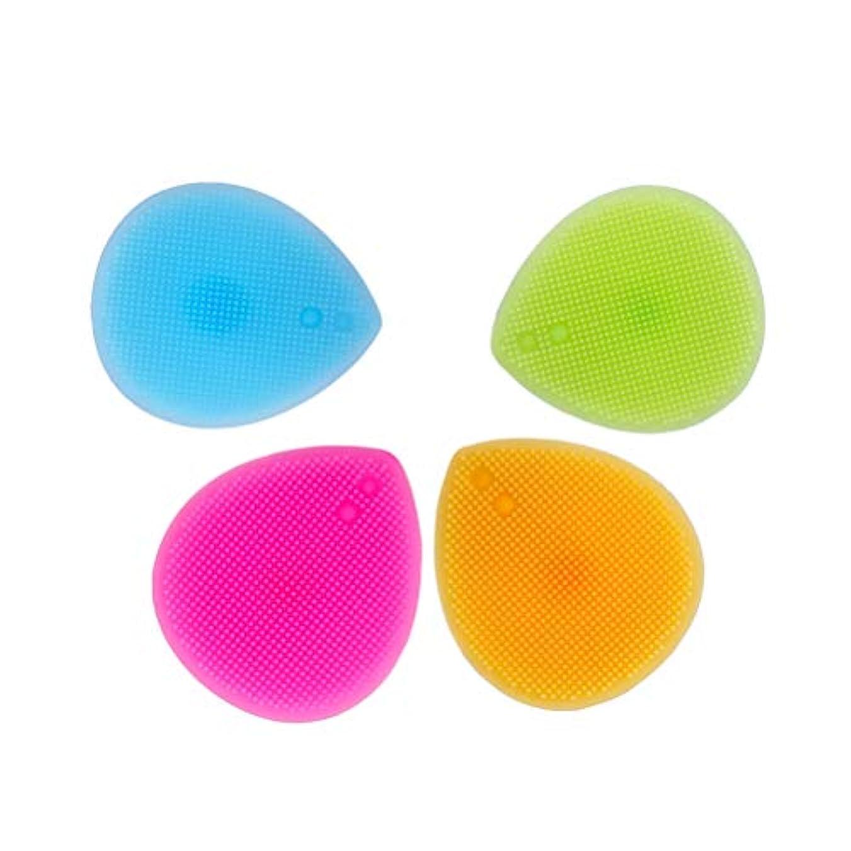 夜明けに誰の染色Healifty ソフトシリコンフェイスクレンザーハート型ブラシパッドハンドヘルドマットスクラバー4個入り