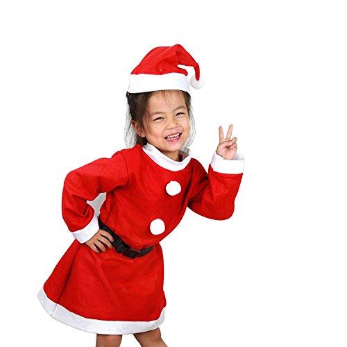 ワンース (Wansi) ベビー 子供 女の子 男の子 クリスマス Xmas パーティー サンタ ハロウィン コスプレ 衣装 コスチューム 舞台装 演出服 サンタクロース 帽子+ベルト+ワンピース B 120CM