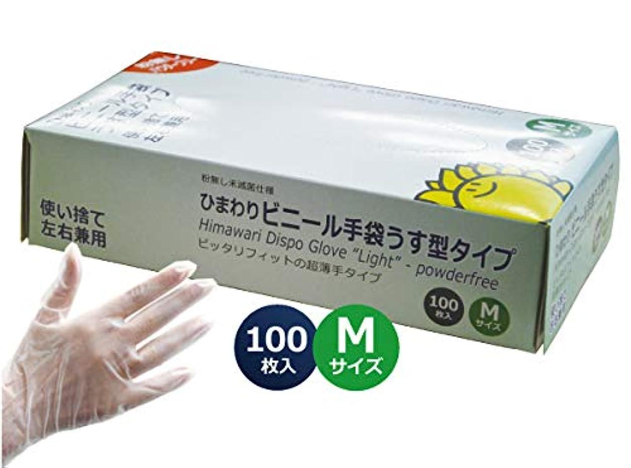 ピット外交官インディカビニール手袋うす型タイプ パウダーフリー Mサイズ:1小箱100枚入 プラスチック手袋 グローブ 粉無し 使い捨て 左右兼用