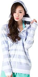 ICEPARDAL(アイスパーダル) 全20色柄 レディース ラッシュガード パーカー IR-7200 BDL-BLK(裏地使い) WMサイズ 長袖 ラッシュパーカー UVカット UPF50 + 指穴つき おしゃれ かわいい 人気 女性用 体型カバー 水着 ホワイト 白色 ボーダー柄