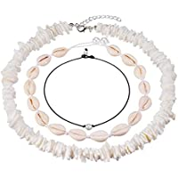 Cowrie Shell Choker Necklace for Women Puka Chips Shell Surfer Choker Necklace Jewelry Set Adjustable Cord Necklace