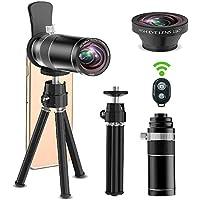 ARORY スマホ用カメラレンズ 20X望遠レンズ 180度魚眼 2in1レンズ+三脚+Bluetooth リモコン 簡単装着 iPhone・Android・各種スマートフォン対応