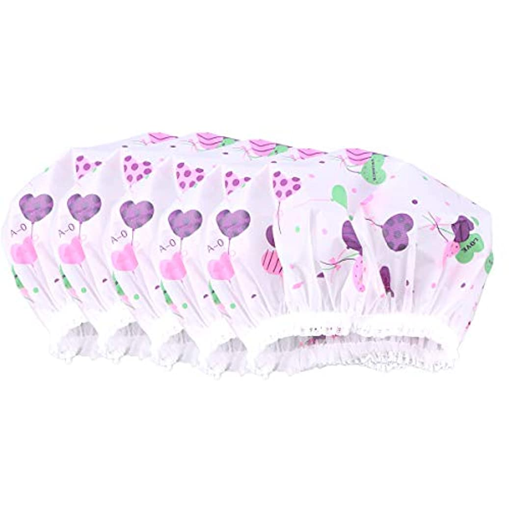 Healifty 10ピース防水レースシャワーキャップ防風バス帽子女の子女性レディ(ハート草パターン)
