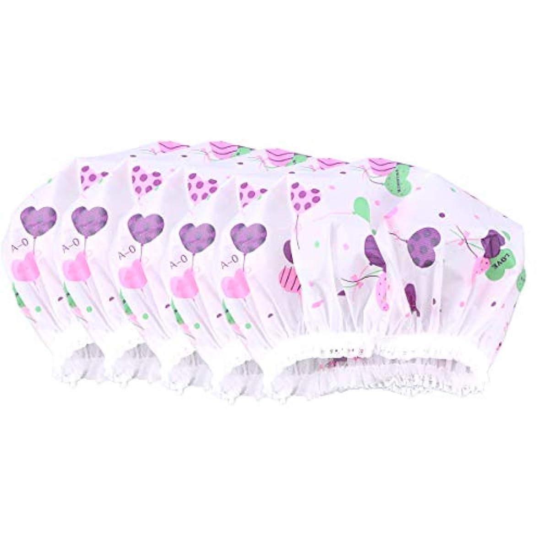 雑種デコラティブ豚肉Healifty 10ピース防水レースシャワーキャップ防風バス帽子女の子女性レディ(ハート草パターン)