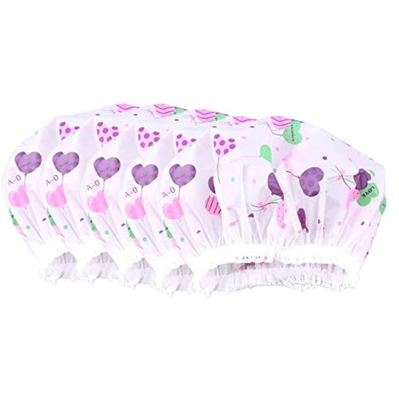 またね持っている気候の山Healifty 10ピース防水レースシャワーキャップ防風バス帽子女の子女性レディ(ハート草パターン)