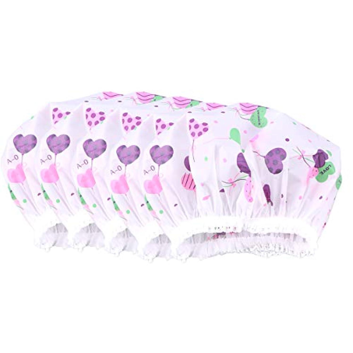 激怒不完全製造Healifty 10ピース防水レースシャワーキャップ防風バス帽子女の子女性レディ(ハート草パターン)