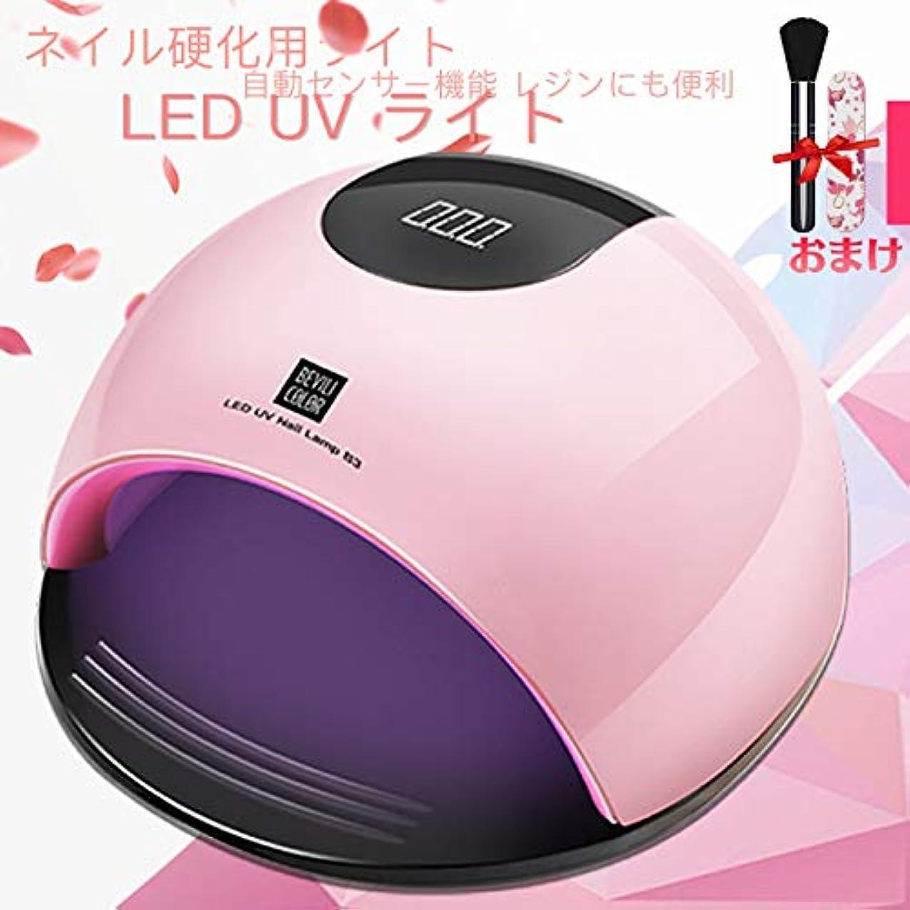 等理解する身元ジェルネイル ライトレジン uvライトネイルドライヤー ハンドフット両用 ネイル led ライト80W ハイパワー ジェルネイルライト 肌をケア センサータイマー付き (Pink)