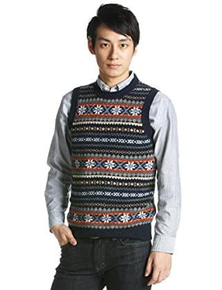 Fair Isle Wool Crewneck Sweater Vest 1218-117-0087: Navy
