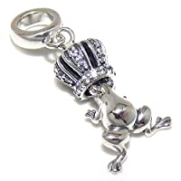 """Pro Jewelry。925スターリングシルバーDangling """"ホワイトCZクラウンW / Dangling Frog """"チャームビーズ204"""