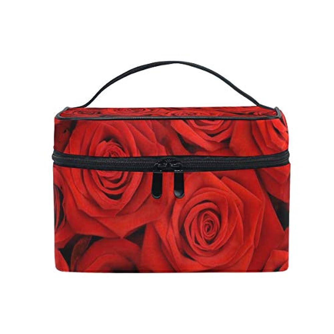 推測エッセンスユキオ(UKIO) メイクポーチ 大容量 シンプル かわいい 持ち運び 旅行 化粧ポーチ コスメバッグ 化粧品 大きなバラ 赤い レディース 収納ケース ポーチ 収納ボックス 化粧箱 メイクバッグ