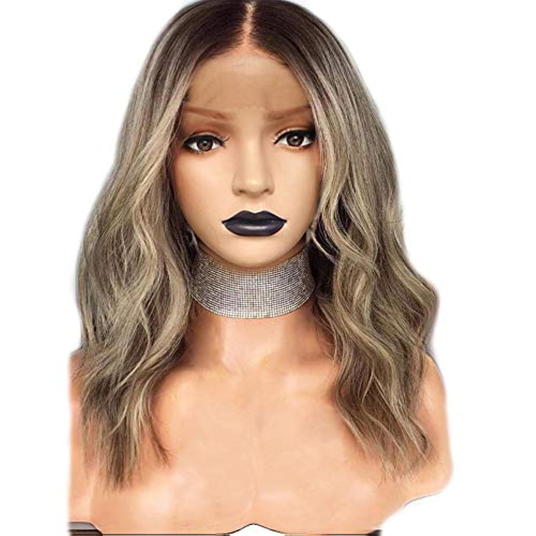 噂侵入する祈るZXF ヨーロッパとアメリカの化学繊維かつら女性18インチリネングラデーションカラー長い小さな巻き毛の前部絹のかつらエレガントな女の子 美しい
