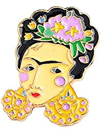 Niome New Creative Mexican Flower Women Self-portrait Brooches Cartoon Pins Badges Jewelry XZ1007