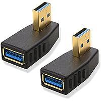 Cable Matters L字型 USB 3.0 アダプタ 90°垂直 方向変換コネクター 金メッキコネクター搭載 超高速 5Gbps対応 無期限保証 (2個セット)