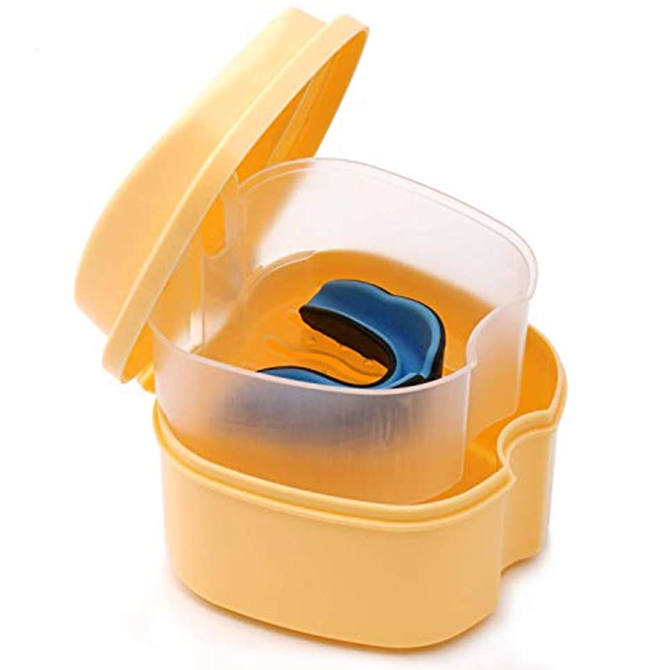 CoiTek 入れ歯ケース 義歯ケース 携帯 家庭旅行用 ストレーナー付き オレンジ