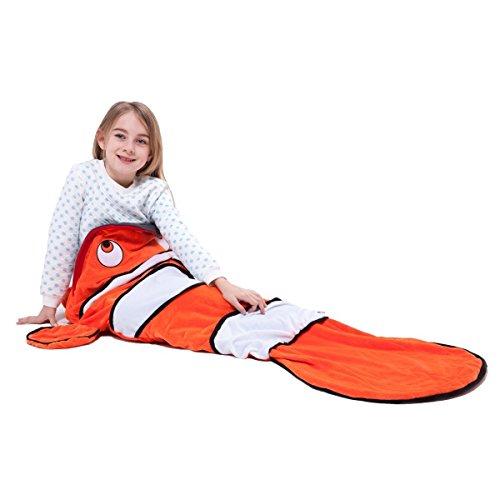 iCoole 可愛い寝袋 子供用シュラフ 封筒型スリーピングバッグ 快適型 魚形 軽量 丸洗い