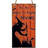 ゴシレ Gosear 魔女は恐怖に私の夜は、品質表示票壁看板ハロウィーンのウィンドウのドアの装飾用品をぶら下げ注意長方形