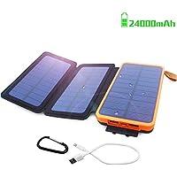 モバイルバッテリー ソーラー 24000mAh 充電器 太陽能チャージャー QIMMAOL 高速充電USB 2.1A USBケーブル付き 折り畳み式ポータブルソーラーチャージ防水 iPhone/Android対応