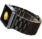 Apple Watch 38mm/42mm 時計バンド 交換ベルト 高級ステンレス アップルウォッチ (ブラック 38mm)