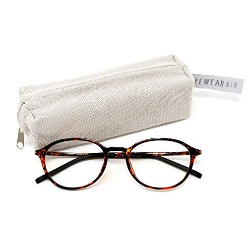 アイウェアエア 軽量しなやかフレーム スマホ老眼鏡 ブルーライトカット ケース付き +0.5~+3.5 4色 ボストン ベッコウ +1.50