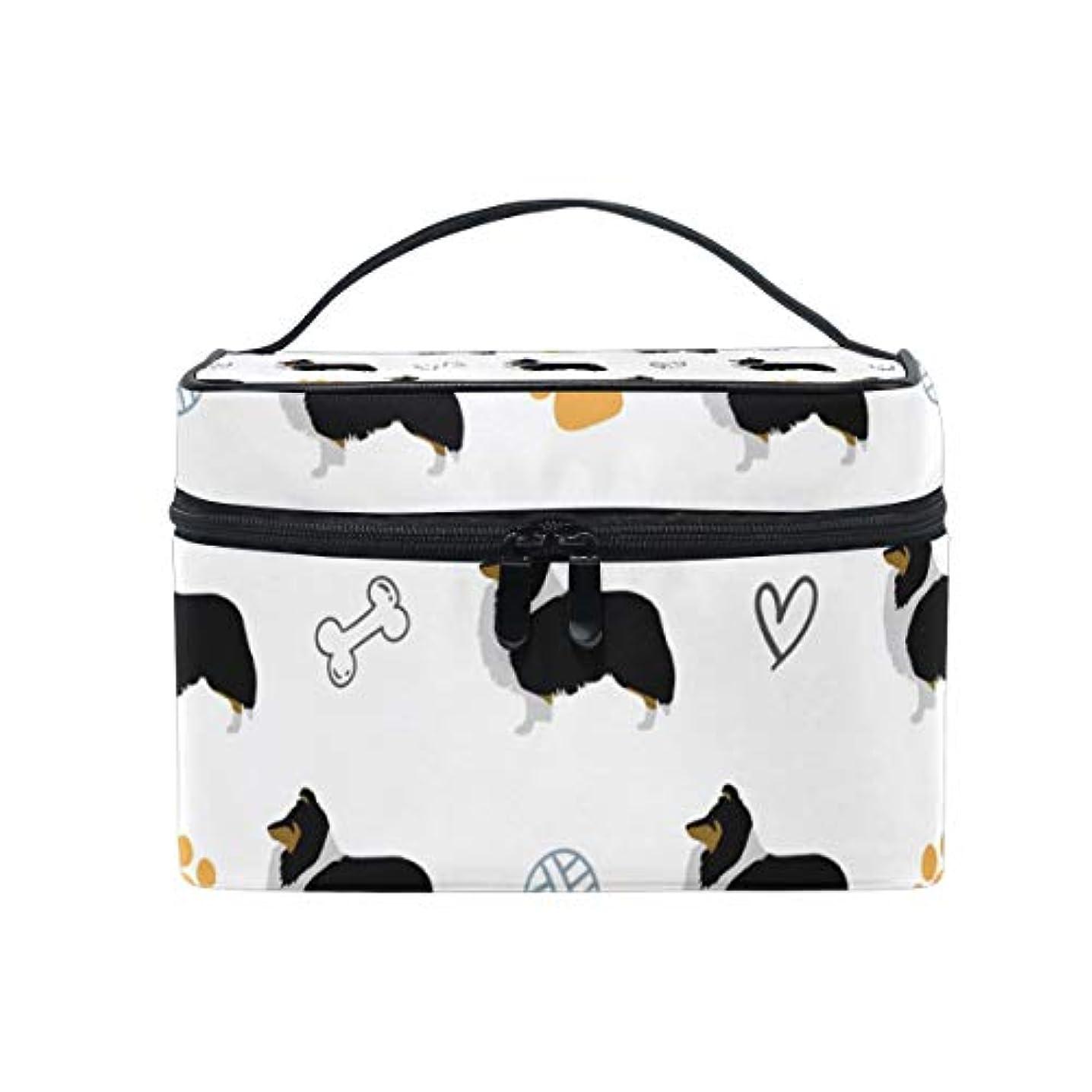 接触キモい包括的メイクボックス 面白い シェットランドシープドッグ柄 化粧ポーチ 化粧品 化粧道具 小物入れ メイクブラシバッグ 大容量 旅行用 収納ケース