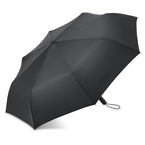 PLEMO自動開閉折り畳み傘持ち運び携帯用紳士傘、シンプルブラック (113センチ)