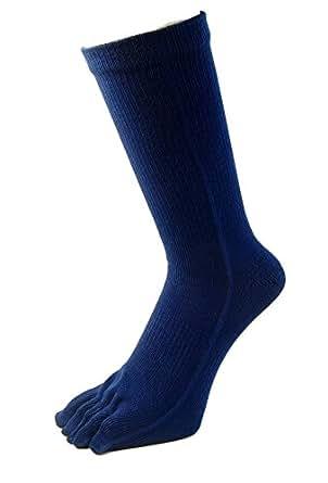 (日本製の技)ハードな履き方でも破れにくい靴下 パワフル 5本指 ソックス カカト付き 4足組 #5060 (紺)