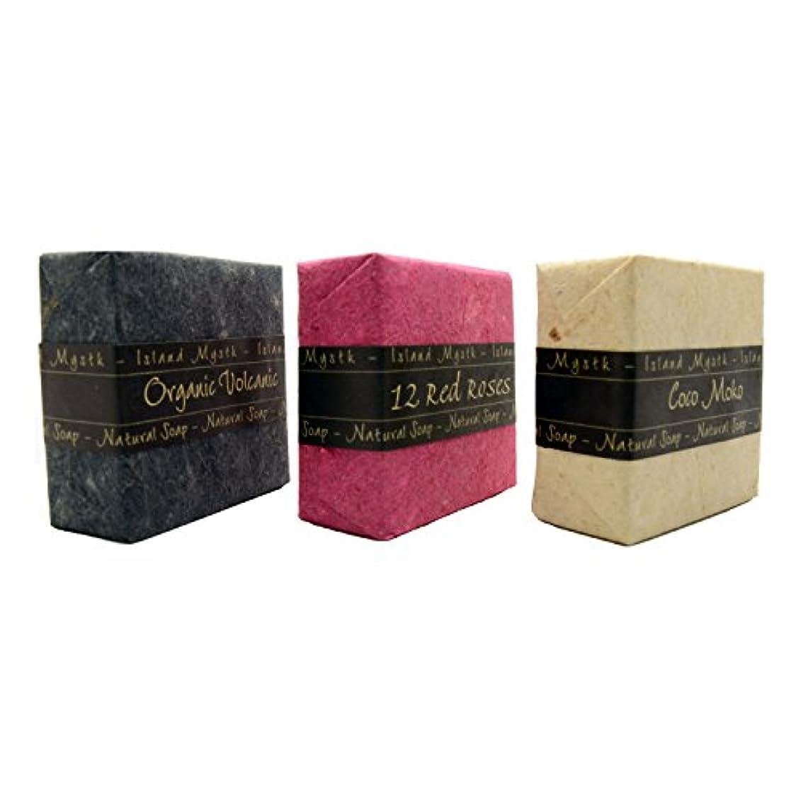 サイレン男性定義アイランドミスティック 3個セット 黒赤白 115g×3 ココナッツ石鹸 バリ島 Island Mystk 天然素材100% 無添加 オーガニック
