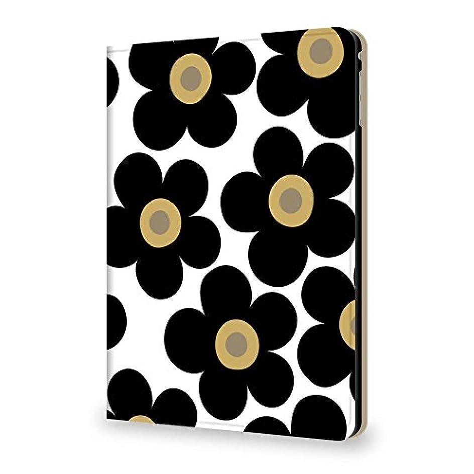 科学肺修正するKintsu iPad mini4 7.9 ケース フラワー 花柄 ブラック PUレザー 三つ折スタンド
