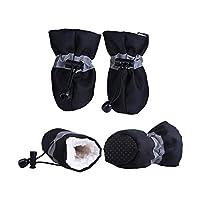 4ピース防水冬ペット犬靴アンチスリップ雨雪ブーツ靴厚く暖かい小さな猫犬子犬犬ソックスブーティで,Black,1,United States