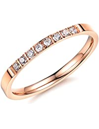 Titanium Stainless Steel Gold Color Women Ring Finger Bands Crystal Lady Gifts, Size US Size 4-8