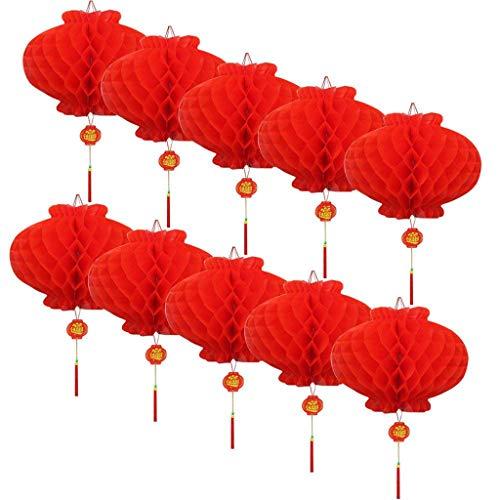 Formemory お祭り 中華 提灯 飾り 10個セット ハニカム ランタン 正月 新年 装飾 縁起のいい ショップ 店舗 春節 (直径:35cm)