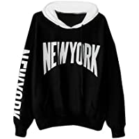 Misaky Women's Girls' Hoodie Long Sleeve Letter Sweatshirt Pullover Blouse