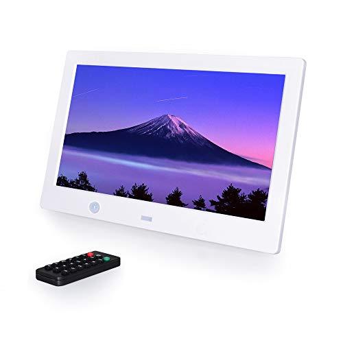 1280*800解像度 デジタルフォトフレーム バックライト液晶 人感センサー 動画/写真/音楽再生 多機能 リモコン付き 10.1インチ 広視野角 高解像度 時計 カレンダー 日本語取扱説明書 良いギフト (白い)