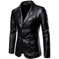 FSSE Mens Casual Business PU Leather Two Button Slim Dress Blazer Jacket Suit Coat