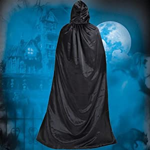 SnowCinda ハロウィンマント ドラキュラ変装 コスプレ 仮装用マント フリーサイズ 大人用 肩下約150㎝ フード付き