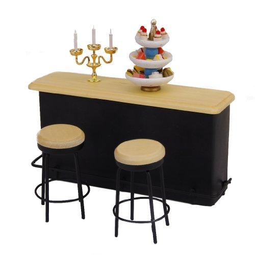 セット ドールハウス用ミニチュア家具テーブルと椅子2脚  装飾 スケール1:12