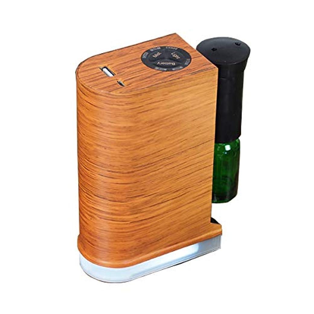 光沢のある気分が悪い平和的アロマデュフューザー 水を使わない ネブライザー式アロマディフューザー LED搭載 アロマオイル 精油 アロマ芳香 (ブラウン)