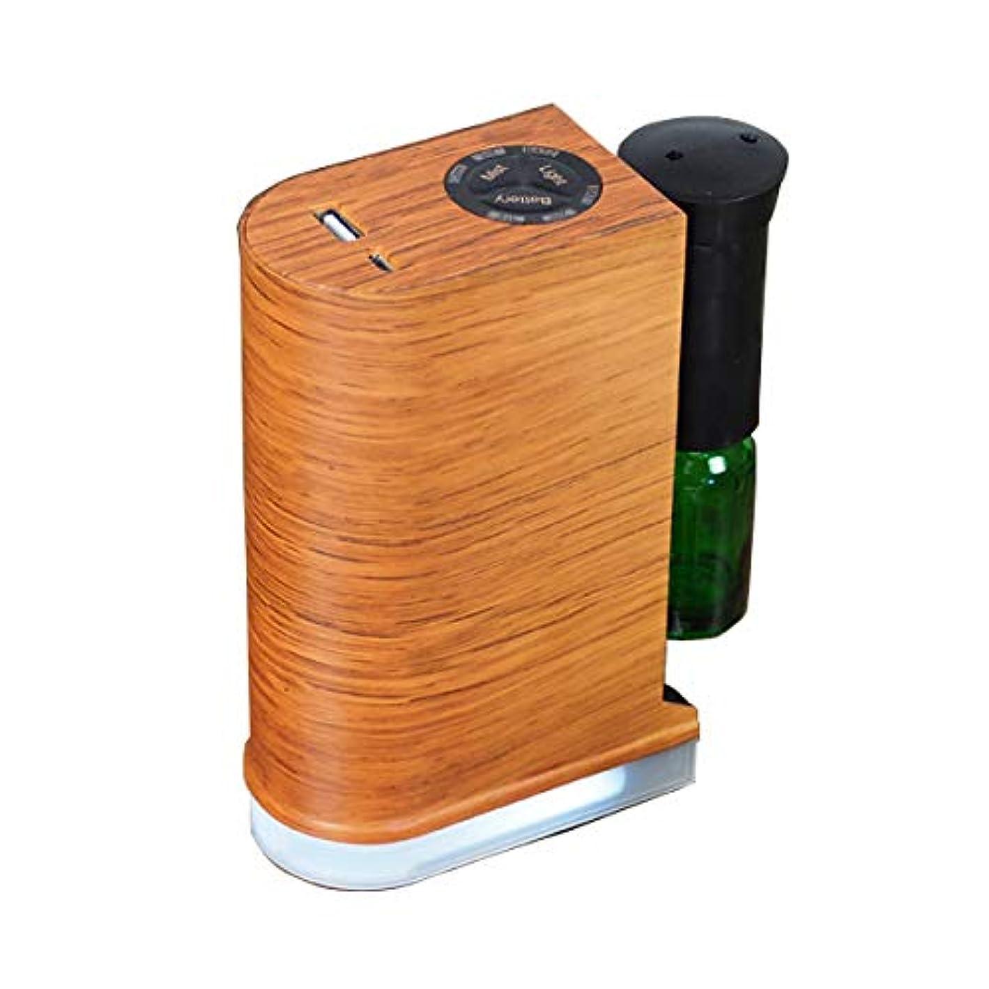 円形高齢者恐れアロマデュフューザー 水を使わない ネブライザー式アロマディフューザー LED搭載 アロマオイル 精油 アロマ芳香 (ブラウン)