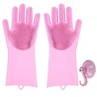 タツノオトシゴ手袋 スクラバー 食器洗い 洗浄 皿 再利用可能 マジックシリコン キッチン 浴室 ペットヘアケア用 洗車 ピンク