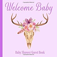 Baby Shower Guest Book Welcome Baby: Deer Antlers Rustic Boho Floral Theme Decorations | Sign in Guestbook Keepsake with Address, Baby Predictions, Advice for Parents, Wishes, Photo & Gift Log Tracker