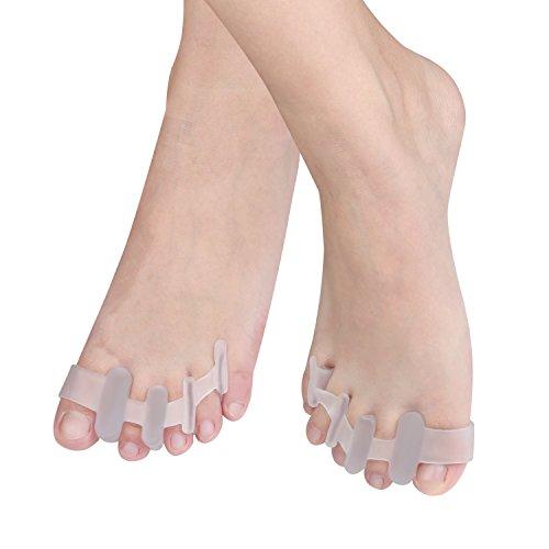 EZbuy シリコン 足指矯正パッド 外反母趾用 サポーター ジェルトウセパレータ 足の痛み 透明色 フリーサイズ 男/女性適用【2個入】ヨガやスポーツ活動後の痛みをすばやく和らげる