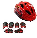 Tofei 子供用ヘルメット 自転車 スケートボード  スキー 超軽量 衝撃吸収 頭囲:50-57cm 七点セット パーム、肘、膝サポーター付き (レッド)