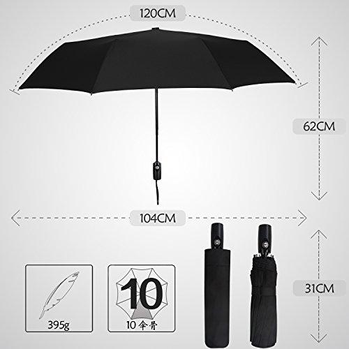 サイベナ Saiveina 折り畳み傘 自動開閉折り畳み傘 ワンタッチ自動開閉 晴雨兼用傘 ジャンプ傘 紳士傘 レディース傘 ビジネス傘 丈夫な10本骨 (ブラック)